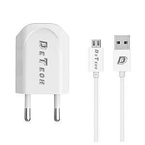 Φορτιστής δικτύου, DeTech, DE-11M, 5V/1A, 220V, Universal, 1 x USB, καλώδιο Micro USB, 1.0m, λευκό
