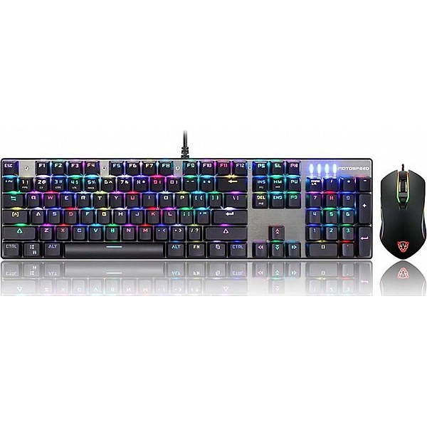 Gaming Keyboard Mouse Combo Motospeed CK888 Mechanical RGB - Red Switches GR
